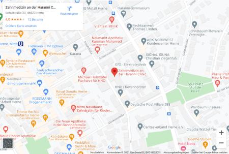 Google Maps Ansicht - Zahnarzt Haranni Clinic in Herne